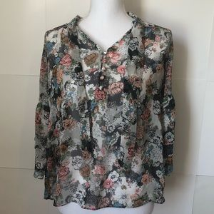 Lauren Conrad floral bell sleeves top womens small